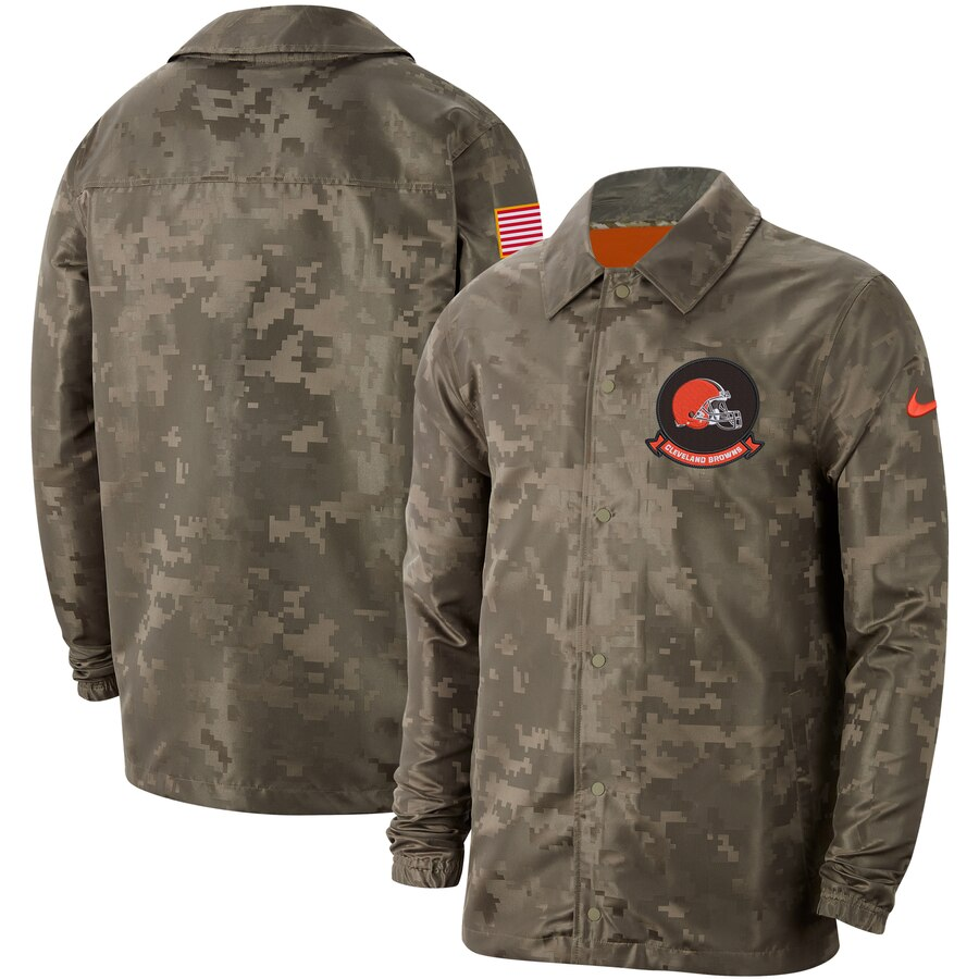 Men's Cleveland Browns Nike Camo 2019 Salute To Service Sideline Full Zip Lightweight Jacket