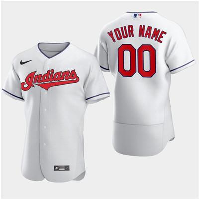 Men's Cleveland Indians Custom Nike White Flexbase Jersey