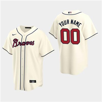 Men's Custom Atlanta Braves 2020 Cream Alternate Replica Jersey