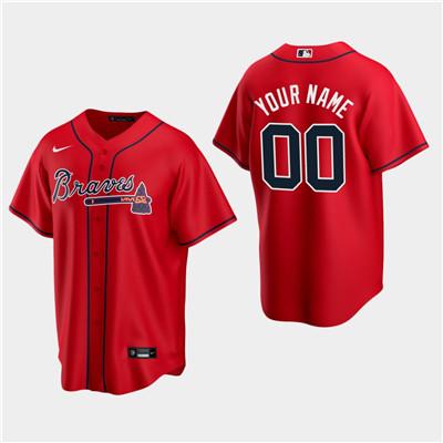 Men's Custom Atlanta Braves 2020 Red Alternate Replica Jersey