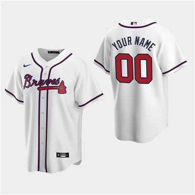 Men's Custom Atlanta Braves 2020 White Home Replica Jersey