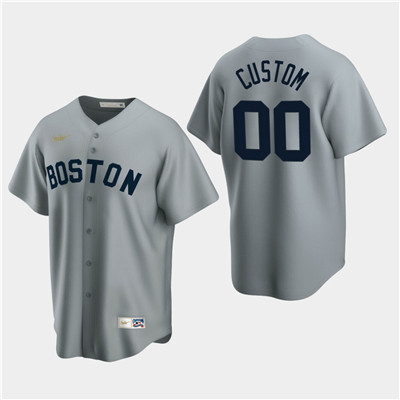 Men's Custom Boston Red Sox Gray Road Cooperstown Collection Nike Jersey