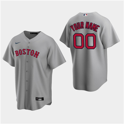 Men's Custom Boston Red Sox Gray Road Replica Jersey