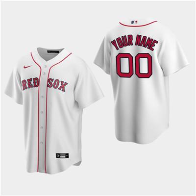 Men's Custom Boston Red Sox White Home Replica Jersey
