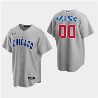 Men's Custom Chicago Cubs Gray Road Replica Jersey