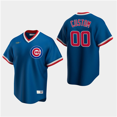 Men's Custom Chicago Cubs Royal Road Cooperstown Collection Nike Jersey