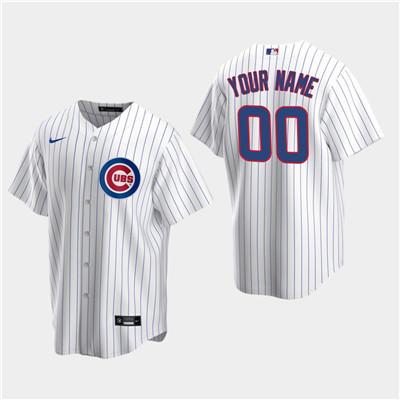 Men's Custom Chicago Cubs White Home Replica Jersey