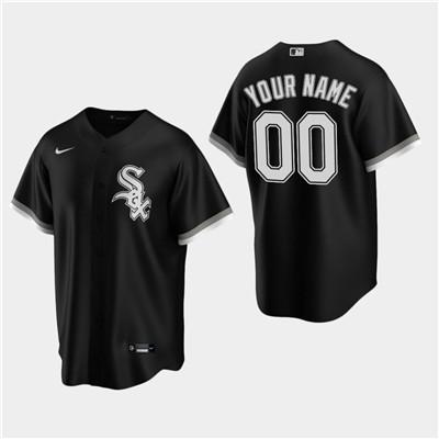 Men's Custom Chicago White Sox Black Alternate Replica Jersey