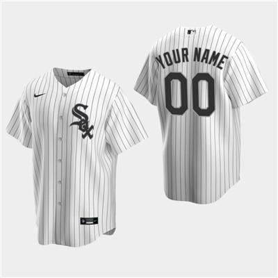 Men's Custom Chicago White Sox White Home Replica Jersey