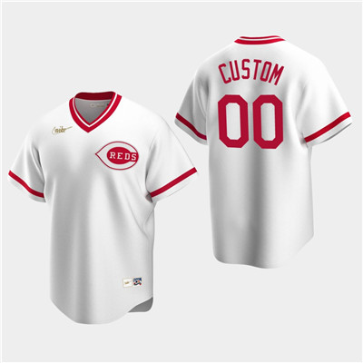 Men's Custom Cincinnati Reds White Home Cooperstown Collection Nike Jersey