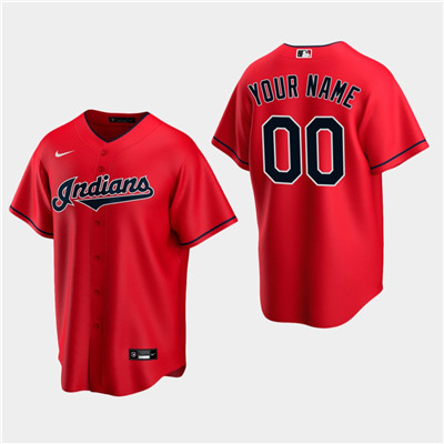 Men's Custom Cleveland Indians Red Alternate Replica Jersey