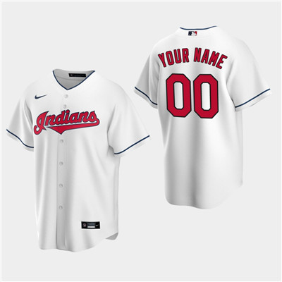 Men's Custom Cleveland Indians White Home Replica Jersey