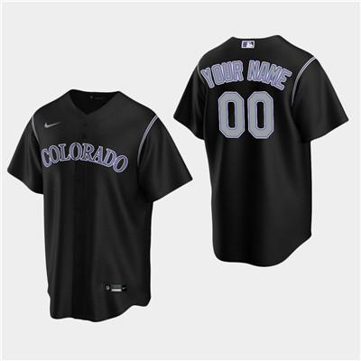 Men's Custom Colorado Rockies Black Alternate Replica Jersey