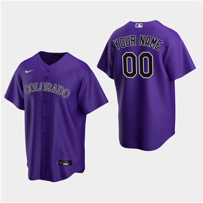 Men's Custom Colorado Rockies Purple Alternate Replica Jersey