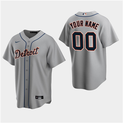 Men's Custom Detroit Tigers Gray Road Replica Jersey