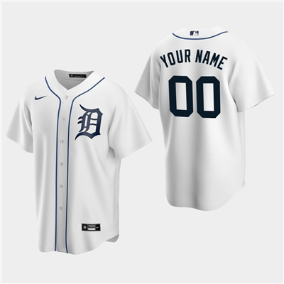 Men's Custom Detroit Tigers White Home Replica Jersey