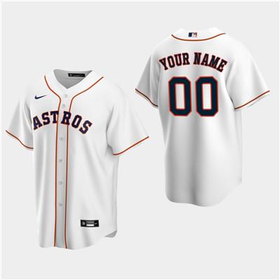 Men's Custom Houston Astros White Home Replica Jersey
