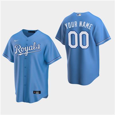Men's Custom Kansas City Royals Light Blue Alternate Replica Jersey