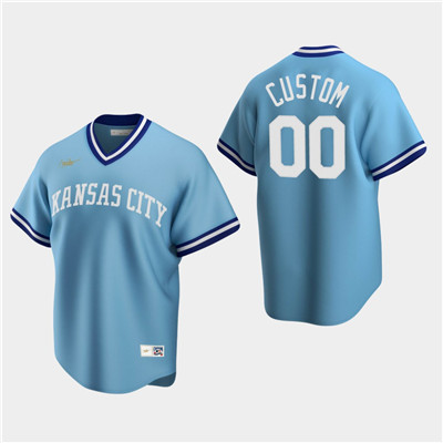 Men's Custom Kansas City Royals Light Blue Road Cooperstown Collection Nike Jersey