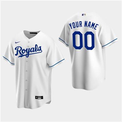 Men's Custom Kansas City Royals White Home Replica Jersey
