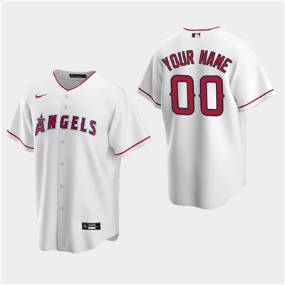 Men's Custom Los Angeles Angels White Home Replica Jersey