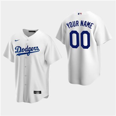 Men's Custom Los Angeles Dodgers White Home Replica Jersey