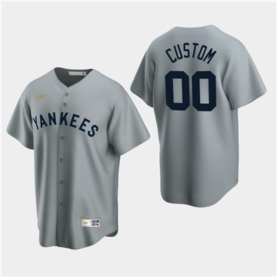 Men's Custom New York Yankees Gray Road Cooperstown Collection Nike Jersey