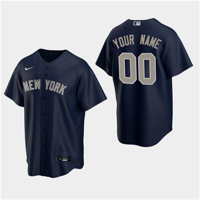 Men's Custom New York Yankees Navy Alternate Replica Jersey