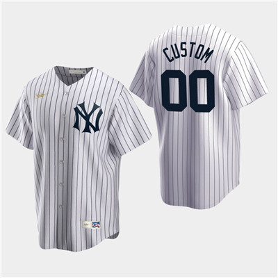 Men's Custom New York Yankees White Home Cooperstown Collection Nike Jersey