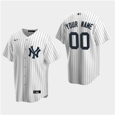 Men's Custom New York Yankees White Home Replica Jersey