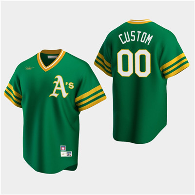 Men's Custom Oakland Athletics Kelly Green Road Cooperstown Collection Nike Jersey
