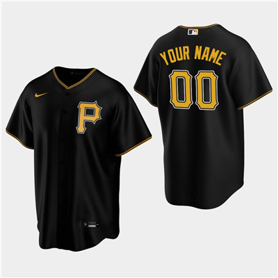 Men's Custom Pittsburgh Pirates Black Alternate Replica Jersey