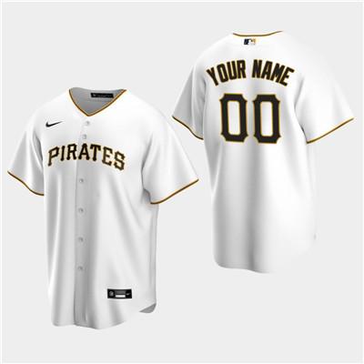 Men's Custom Pittsburgh Pirates White Home Replica Jersey