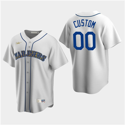 Men's Custom Seattle Mariners White Home Cooperstown Collection Nike Jersey