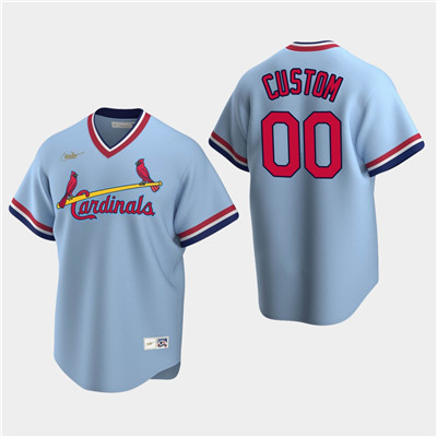 Men's Custom St. Louis Cardinals Light Blue Road Cooperstown Collection Nike Jersey