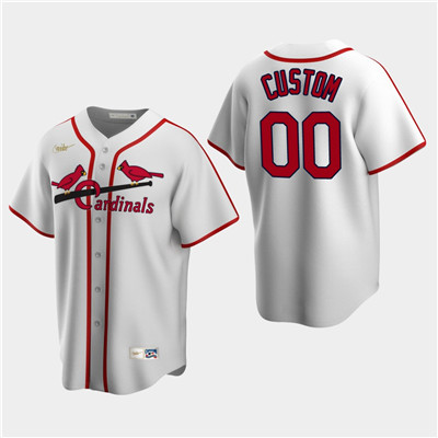 Men's Custom St. Louis Cardinals White Home Cooperstown Collection Nike Jersey