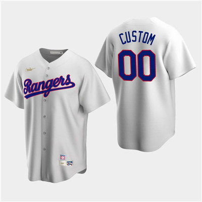 Men's Custom Texas Rangers White Home Cooperstown Collection Nike Jersey