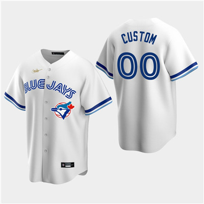 Men's Custom Toronto Blue Jays White Home Cooperstown Collection Nike Jersey