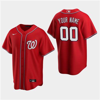 Men's Custom Washington Nationals Red Alternate Replica Jersey