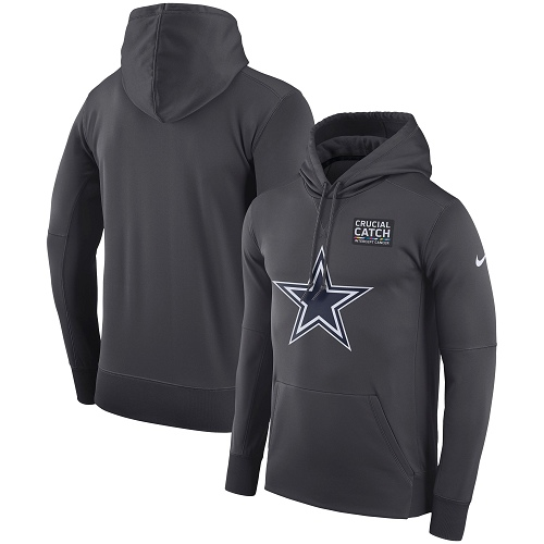 Men's Dallas Cowboys Nike Anthracite Crucial Catch Performance Pullover Hoodie