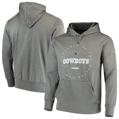 Men's Dallas Cowboys Nike Heathered Gray Sideline Property Of Wordmark Logo Performance Pullover Hoodie