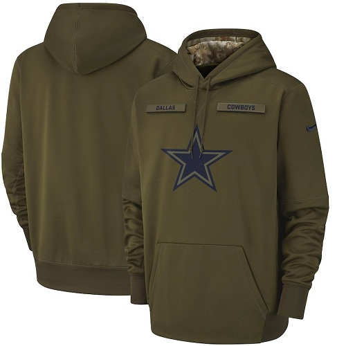 Men's Dallas Cowboys Nike Olive Salute to Service Sideline Therma Performance Pullover Hoodie