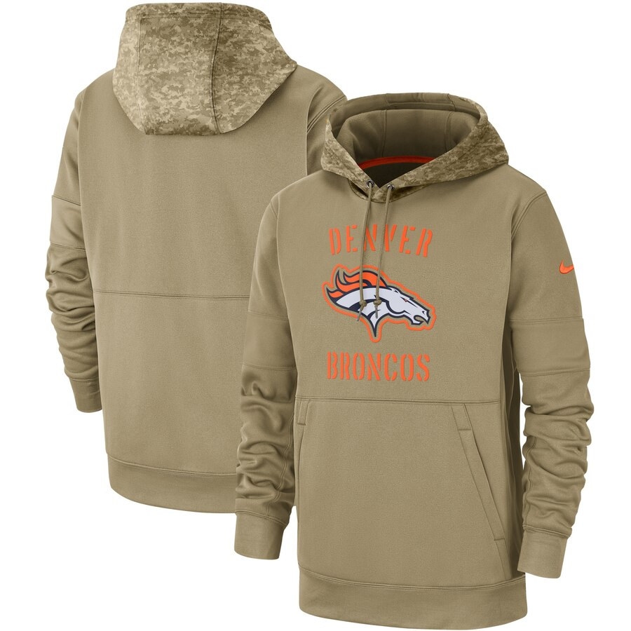Men's Denver Broncos 2019 Salute To Service Sideline Therma Pullover Hoodie
