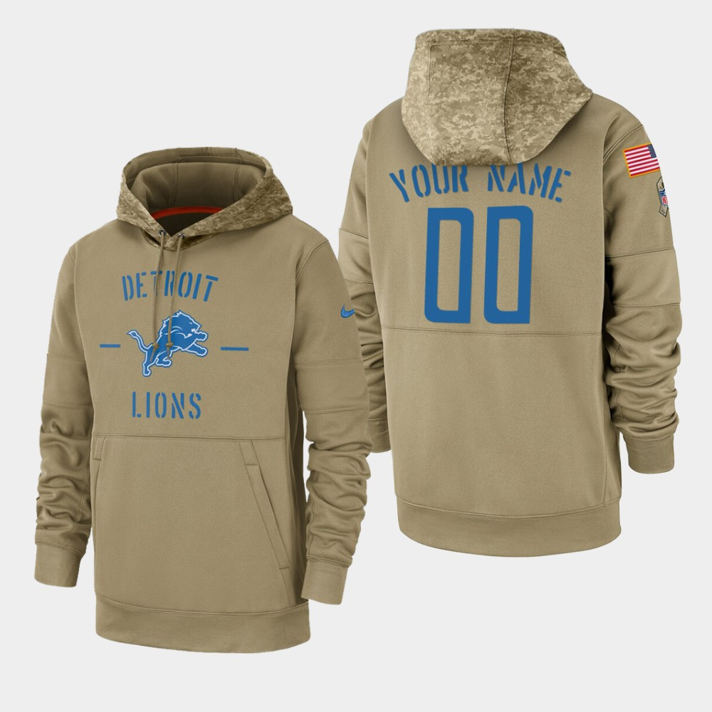 Men's Detroit Lions Custom 2019 Salute to Service Sideline Therma Pullover Hoodie - Tan