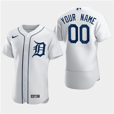 Men's Detroit Tigers Custom Nike Flexbase White Jersey
