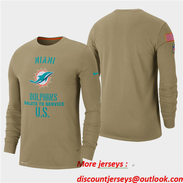Men's Dolphins Tan 2019 Salute to Service Sideline Long Sleeve T-Shirt