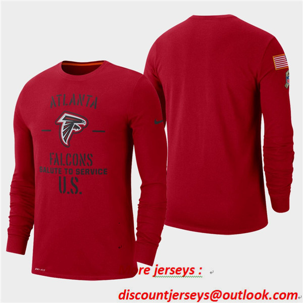 Men's Falcons Red 2019 Salute to Service Sideline Long Sleeve T-Shirt
