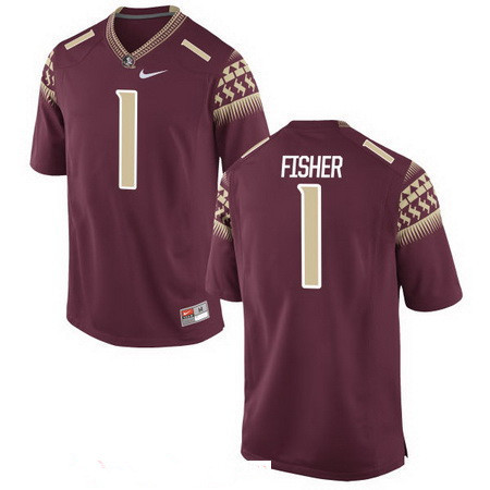 Men's Florida State Seminoles #1 Jimbo Fisher Red Stitched College Football 2016 Nike NCAA Jersey