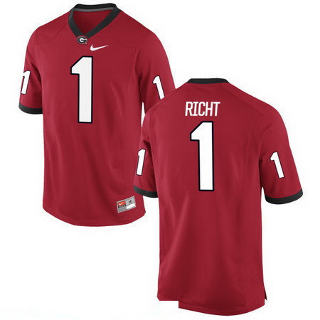 Men's Georgia Bulldogs #1 Mark Richt Red Stitched College Football 2016 Nike NCAA Jersey