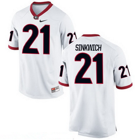 Men's Georgia Bulldogs #21 Frank Sinkwich White Stitched College Football 2016 Nike NCAA Jersey